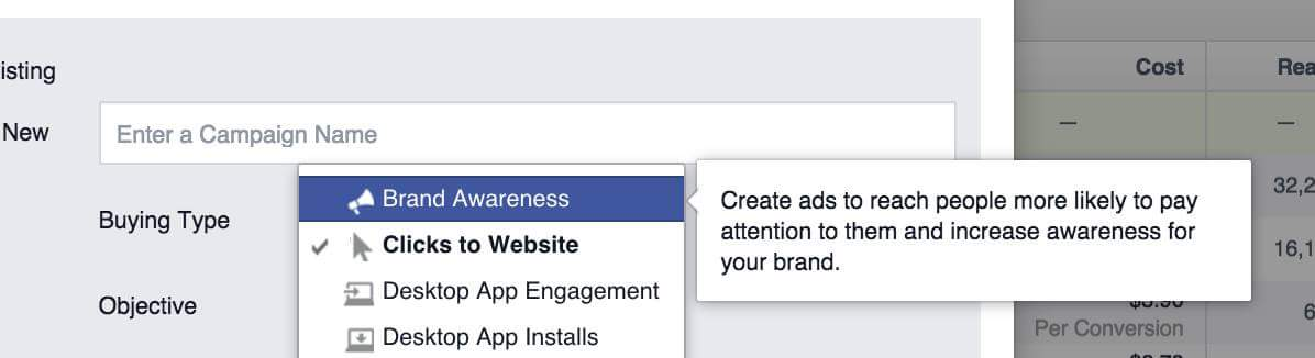 Optimize your online presence using Facebook's Brand Awareness advertising objective.